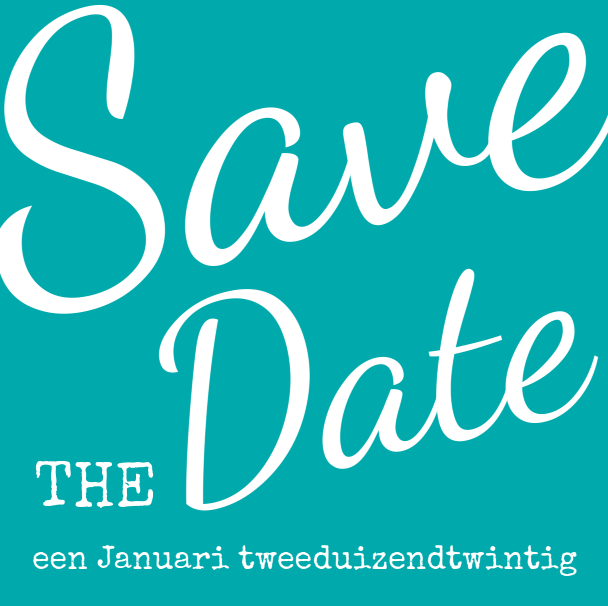 Save-the-date trendy kaart fris blauw.