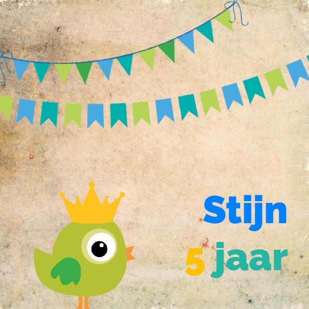 Uitnodigings Kaart Verjaardag Groene Vogel En Slingers