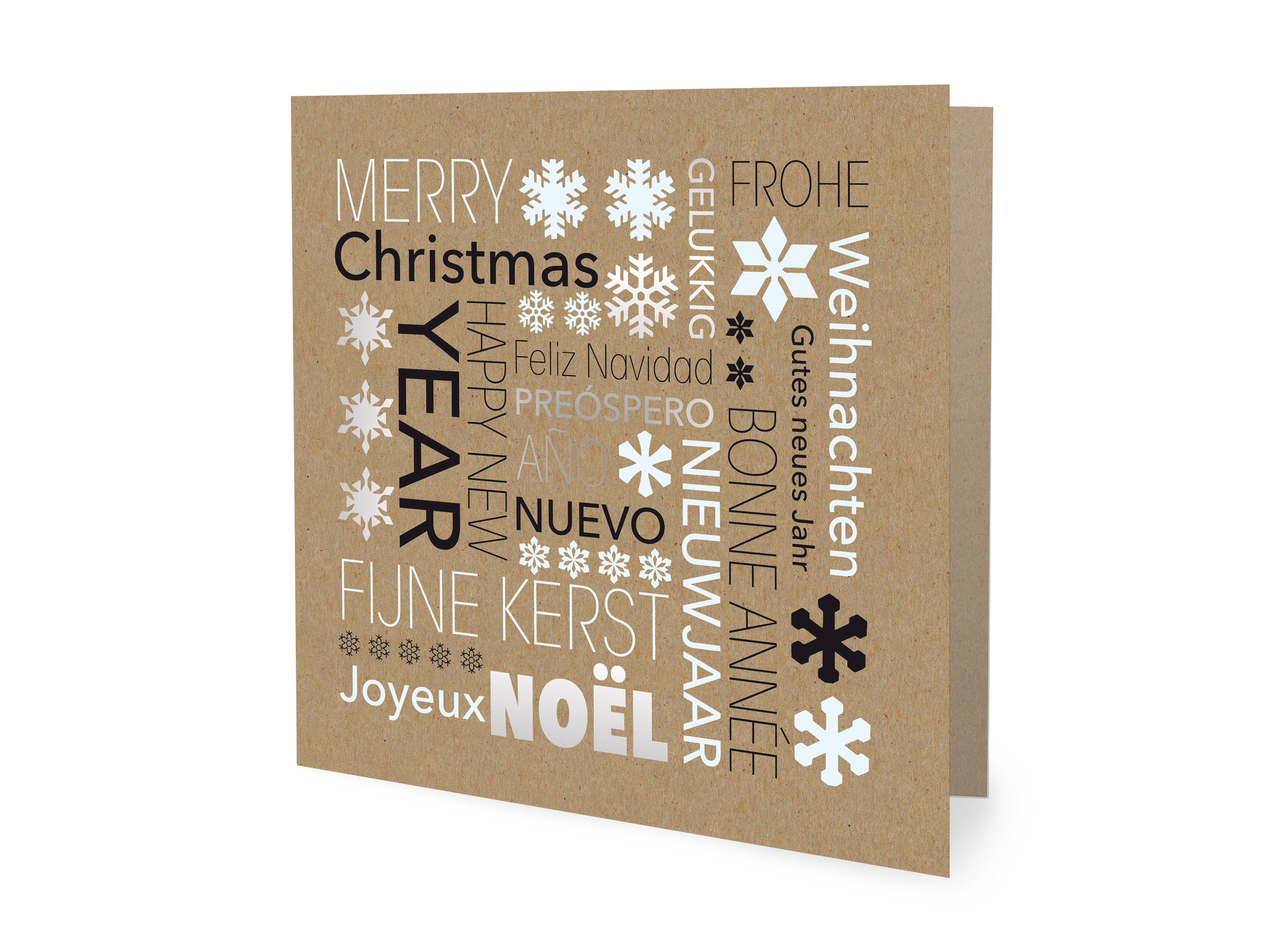 Kerstkaart Tekst Is Verschillende Talen Op Karton